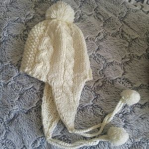 Creme/Off white women's winter hat with pom poms